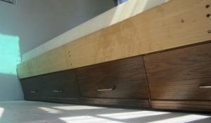 underbed cabinet doors - refinished and installed